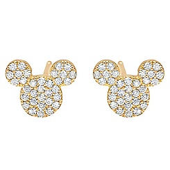 Mickey Mouse Icon Stud Earrings by CRISLU - Yellow Gold