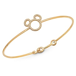Mickey Mouse Icon Silhouette Bangle by CRISLU - Yellow Gold