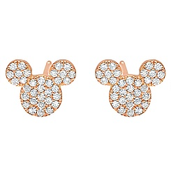 Mickey Mouse Icon Stud Earrings by CRISLU - Rose Gold