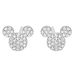 Mickey Mouse Icon Stud Earrings by CRISLU - Platinum