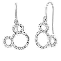 Mickey Mouse Icon Silhouette Earrings by CRISLU - Platinum