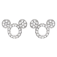 Mickey Mouse Icon Silhouette Stud Earrings by CRISLU - Platinum