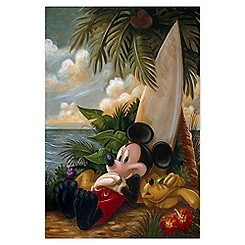 Mickey Mouse ''Sundown Surfer Mickey Mouse'' Giclée by Darren Wilson