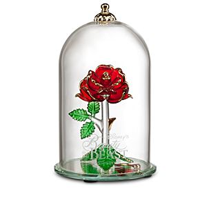 Beauty and the Beast Enchanted Rose Glass Sculpture by Arribas - Large