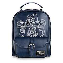 Mickey and Minnie Mouse Embroidered Backpack - Navy