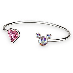 Mickey Mouse Icon Heart Cuff Bracelet - Clear/Pink