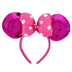 Hot Pink Sequined Minnie Mouse Ears Headband for Women