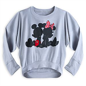 Mickey and Minnie Mouse Blousy Long Sleeve Tee for Women