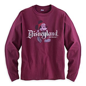 Santa Mickey Mouse Long Sleeve Tee for Men - Disneyland