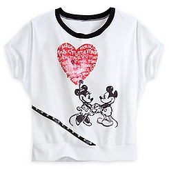 Mickey and Minnie Mouse Dolman Cut Tee for Women - White - Disney Boutique