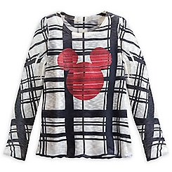 Mickey Mouse Icon Plaid Sweater for Women