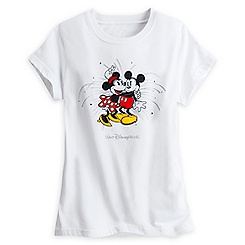 Mickey and Minnie Mouse Starburst Tee for Women - White - Walt Disney World