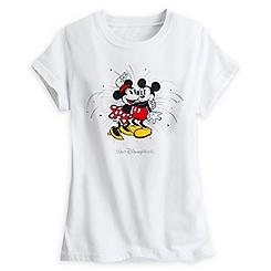 Mickey and Minnie Mouse Starburst Tee for Women - White - Walt Disney World