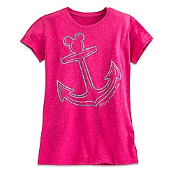 Mickey Mouse Icon Anchor Metallic Tee for Women - Disney Cruise Line - Pink