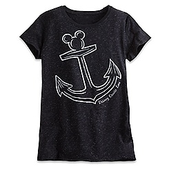 Mickey Mouse Icon Anchor Metallic Tee for Women - Disney Cruise Line - Black