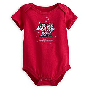 Santa Mickey and Minnie Mouse Bodysuit for Baby - Walt Disney World