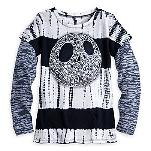 Jack Skellington Tie Dye Double-Up Tee for Girls
