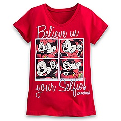 Mickey and Minnie Mouse Selfie Tee for Girls - Disneyland