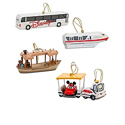 Disney Parks Transportation Vehicles Ornament Set -- 4-Pc