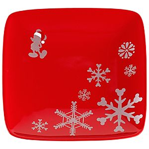 Red Santa Mickey Appetizer Plate