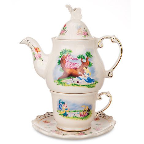 alice in wonderland tea for one set disney park tea pot. Black Bedroom Furniture Sets. Home Design Ideas