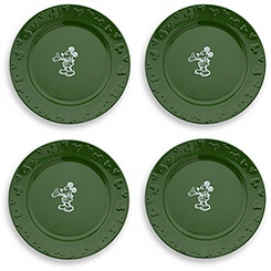 Gourmet Mickey Mouse Dinner Plate Set - Green/White