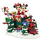 Santa Mickey Mouse and Friends on Train Figure