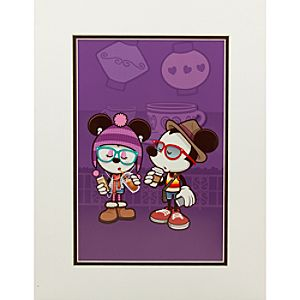 Mickey and Minnie Mouse ''Hipsters in Wonderland'' Art Print by Jerrod Maruyama