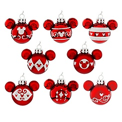 Mickey Mouse Icon Ornament Set - Red