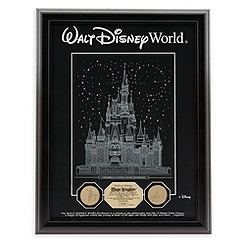 Cinderella Castle Etched Glass Panel with Gold Medallions - Walt Disney World