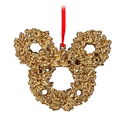 Mickey Mouse Icon Wreath Ornament - Golden Glitter