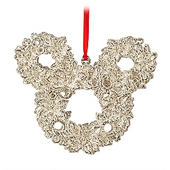 Mickey Mouse Icon Wreath Ornament - Silver Glitter