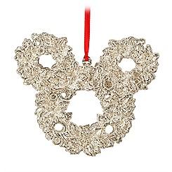 Mickey Mouse Icon Wreath Ornament - Silver Glitter