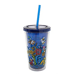 Sorcerer Mickey Mouse and Friends Tumbler with Straw - Walt Disney World 2016