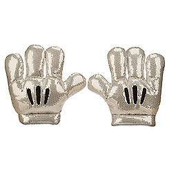 Disneyland Diamond Celebration Sequined Mickey Mitts Plush Gloves
