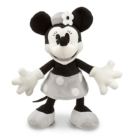 Black and White Minnie Mouse Plush -- 7'' H