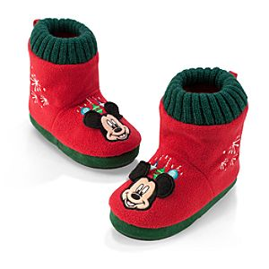Mickey Mouse Fleece Slippers for Kids - Holiday