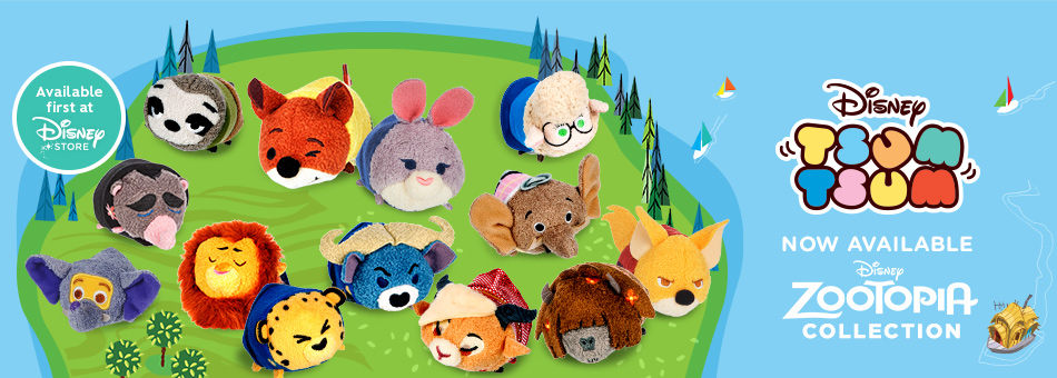 Disney Tsum Tsum - Disney Zootopia Collection - Now Available - Available first at Disney Store